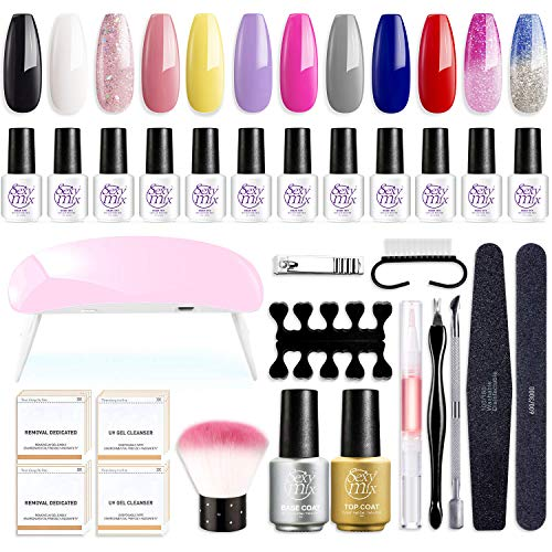 Gel Nail Polish Starter Kit with LED Nail Light, with Mini 12 Fashion Colors Soak Off Black White Pink Gel Nail Polish, Base and Top Coat, Nail Art Manicure Tools Kit