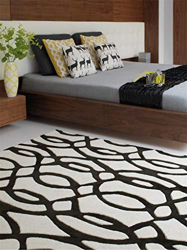 Benuta Wollteppich Matrix Wire Schwarz 120x170 cm/Naturfaserteppich für Wohnzimmer und Schlafzimmer