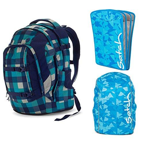 satch Pack Blister 3-teiliges Set Rucksack, Triple Flex & Regenhaube blau