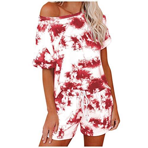 Xniral Damen Pyjama Schlafanzug Kurz Tie-Dye Bedruckte Nachtwäsche Nachthemd Hausanzug Set Kurzarm Rundhals-Ausschnitt für Sommer(h Rot,S)