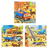 Wooden Puzzles for Kids Age 4-8, Construction Puzzle Activity Board, Full-Color Pictures for Preschool Educational Jigsaw Puzzles, 3 in 1 Set Toddler Puzzles in a Box.