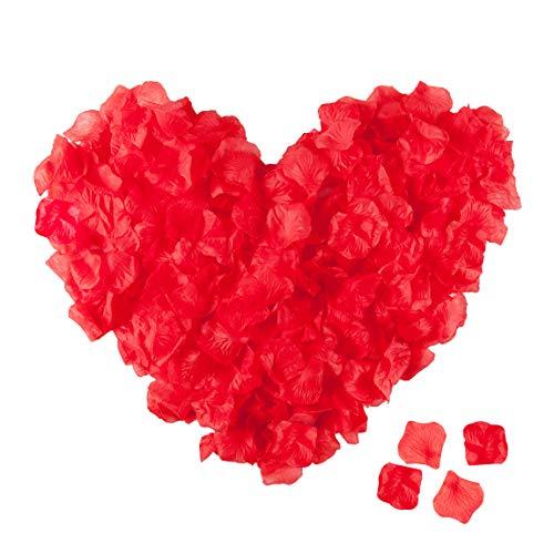 Niceclub 5000 Stück Rosenblätter Rot Rosenblüten Künstliche Blumen für Hochzeitsdeko und romantische Atmosphäre zum Valentinstag, Jubiläum, Hochzeit vorschlagen, Party