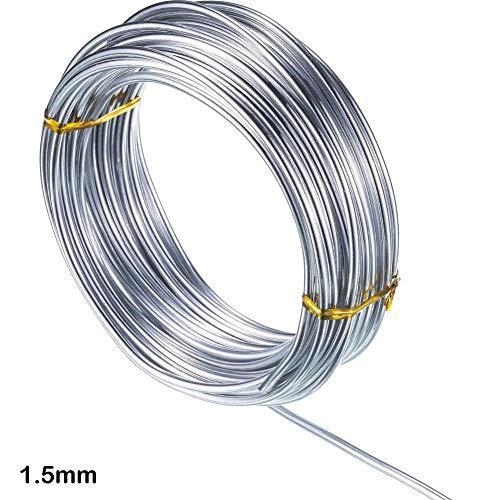 1,0 mm / 1,5 mm / 2,0 mm Silber Aluminium-Basteldraht, biegsamer Metall-Basteldraht zur Herstellung von Puppen-Skelett-Bastelarbeiten