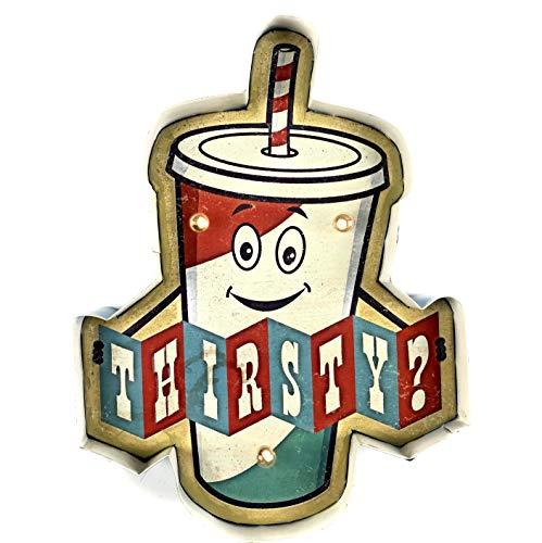 DiiliHiiri Plaque rétro lumineuse pour bar, restaurant, café, style vintage, plaque métallique pour artisanat, accessoires de décoration pour la maison des années 50 (Thirsty?)