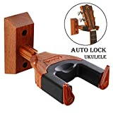 Ukulele Wall Mount, Auto Lock Ukulele Hanger, Hard Wood Base Ukulele Hook, For Ukulele/Violin/Banjo/Mandolin Wall Holder Stand