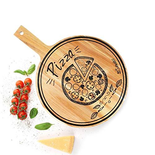 Sendez Pizzabrett mit Griff und Aufdruck aus Mangoholz 42x30cm Holzbrett Vesperbrett Käsebrett Wurstplatte Pizzateller