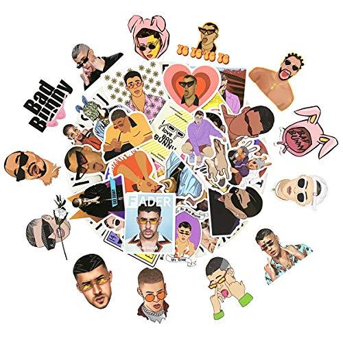 Bad Bunny Stickers, 50pcs Pack, Puerto Rico Music Star Benito Antonio Martínez Ocasio, Reggae Trap Mucic Singer, Water Bottle, Laptop, Car, Skateboard Stickers, Waterproof Vinyl Decals. Bad Bunny