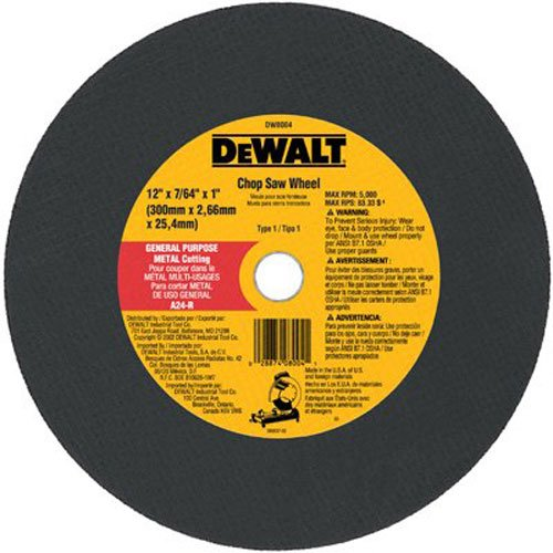 DeWalt DW8004 12 x 7/64 x 1 General Purpose Chop Saw Wheel - Metal
