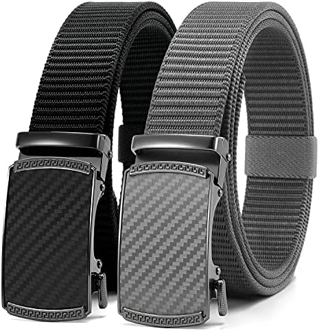 Chaoren Golf Belt 2 Pack Nylon Ratchet Belt, Mens Belts Casual for Outdoor Sport Fully Adjustable Trim to Exact Fit