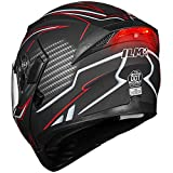 ILM Motorcycle Dual Visor Flip up Modular Full Face Helmet DOT LED Lights (L, MATTE BLACK - LED)