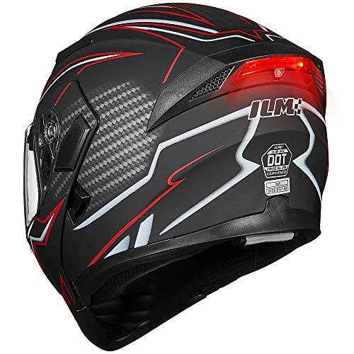 ILM Motorcycle Dual Visor Flip up Modular Full Face Helmet DOT LED Lights (XL, BLACK RED - LED)