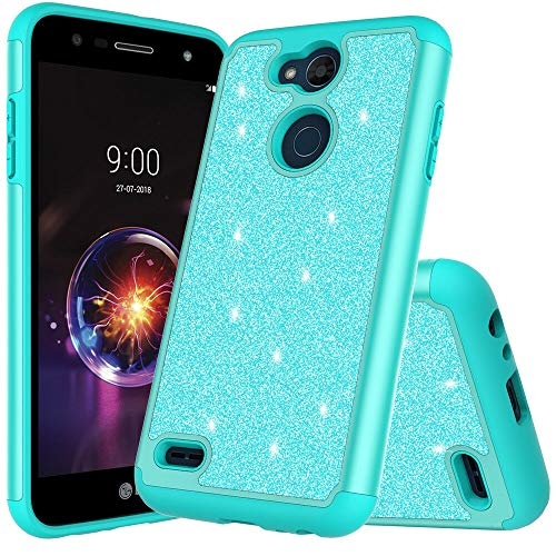for LG X Power 2/ LG X Charge/Fiesta LTE/ K10 Power/ LV7 Cute Glitter Bling Sparkle Dual Layer Protective Shockproof Hybrid Phone Case for LG X Power 2 with HD Screen Protector (Teal)