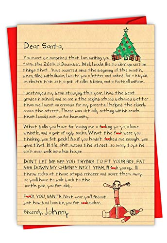 Dear Santa - Adult Humor Merry Christmas Card with Envelope (4 x 5.12 Inch) - Funny Kids Letter, Profanity Season's Greetings Card for Adults, Men - Naughty Happy Holidays Stationery Notecard 1087
