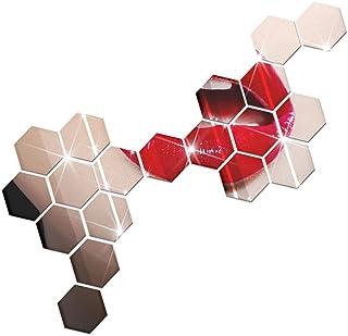Vokmon 12pcs Hexagon Specchio Della casa dell'autoadesivo Soggiorno Camera da letto Divano TV Sfondo Sticker murale acrili...