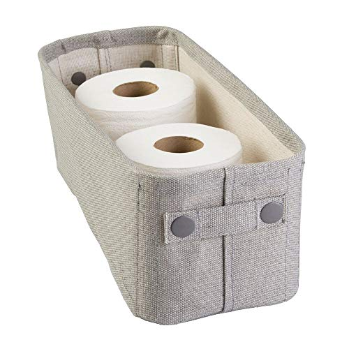 mDesign Soft Cotton Fabric Bathroom Storage Bin with Coated Interior and Attached Handles - Organizer for Towels, Toilet Paper Rolls - for Back of Toilet, Cabinets, and Vanities - Light Gray