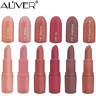 Matte Lipstick, ALIVER 6 Colors Lipstick Set, Long Lasting Lipstick, Nude and Natural Dark Matte Lipstick Non-Stick Cup for Lips Makeup