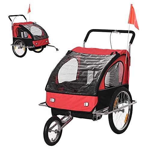 HOMCOM Remolque para Niños 2 PLAZAS con Amortiguadores Carro para Bicicleta CON BARRA INCLUIDA y Kit de Footing COLOR ROJO Y NEGRO