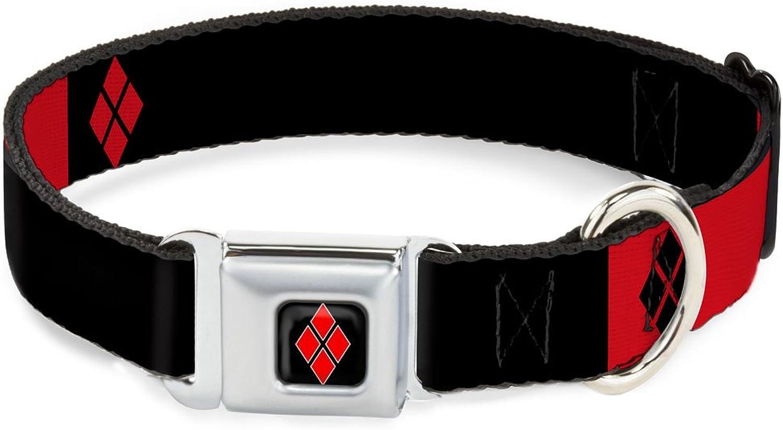 BuckleDown DCWJK007WM Dog Collar Seatbelt Buckle, Harley Quinn Diamonds Black Red White, 1.5  by 1623