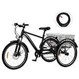 Viribus 7-Speed Adult Tricycle w Adjustable Handlebars and Seat Three-Wheel Mountain Bicycle for Men and Women Complete Beach Cruiser Trike with Basket Lights Bell for Adults (Black1, 24'/7-Speed)