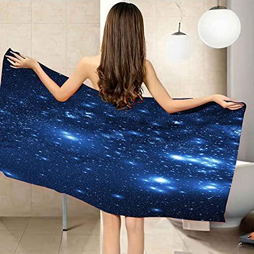 CGBNDS toalla de playa grande 75X150cm Estrellas azules del cielo estrellado Toalla de baño con Muy absorbentes, Ligeras y de máxima suavidad Ideal para Playa Picnic Acampada o Actividad al Aire Libre