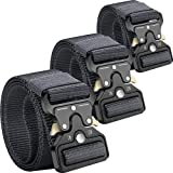 Clobri 3 Pack Tactical Belts for Men and Women,Riggers Belt Military,49'x1.5'Nylon Webbing Belts with Quick Release Heavy-Duty Metal Buckle
