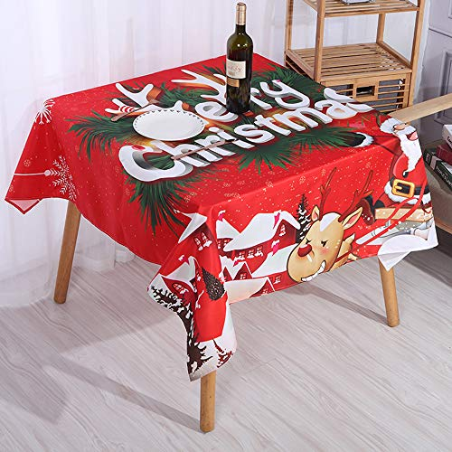 """Christmas Tablecloth Square,54"""" x 54"""" Decorative Christmas Tablecloth,Wrinkle and Water Resistant Holiday Table Cloth,Red Merry Christmas Tablecloth (A)"""