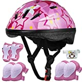 Kids Helmet Adjustable for Kids Ages 3-8 Years Old Boys Girls, Toddler Bike Helmet with Protective Sports Gear Set Knee Elbow Pads Wrist Guards for Cycling Roller Skating Skateboard-(Pink Star)