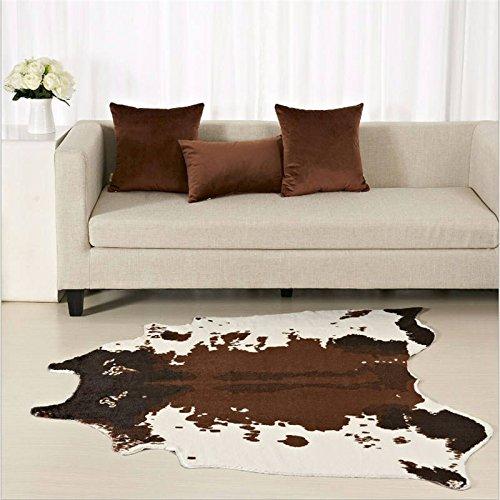 GRENSS Große kreative Ganze Imitation von Leder Zebra weichen Teppich für Dekorieren Wohnzimmer Schlafzimmer Tagungsraum Wolldecke Home Matte, Kühe, 150 X 146 cm