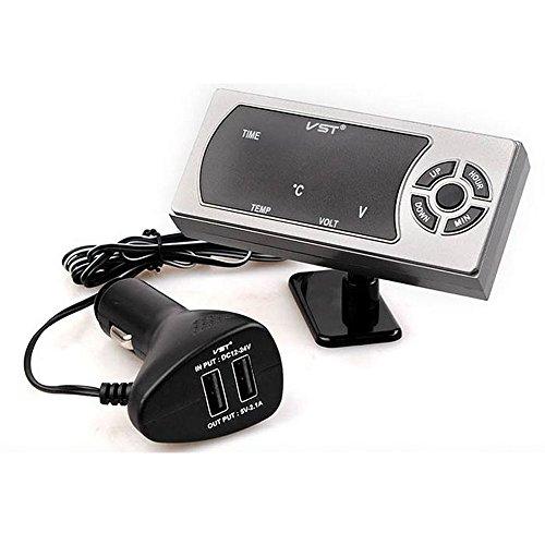 Boomboost 3.5A Double Chargeur de Voiture USB Calendrier LED Voltmètre Thermomètre Température avec l'affichage de l'écran
