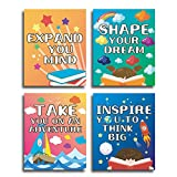 """HPNIUB Colorful Classroom Art Print,Set of 4 (8""""X10""""), Inspirational Words Motivational Saying Canvas Poster, Rainbow Star Clouds Earth Watercolor Wall Decoration for Nursery Classroom Kids Playroom Bedroom, No Frame"""