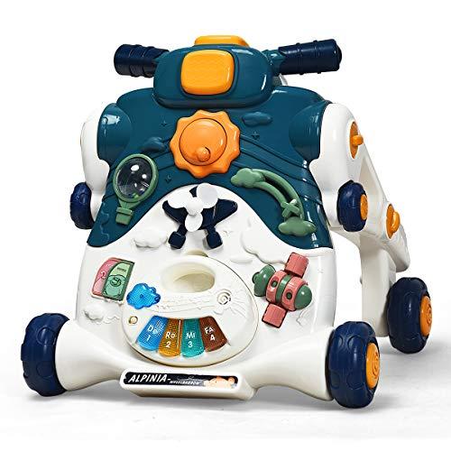 COSTWAY 3 in 1 Lauflernwagen, Spielbrett & Lauflernhilfe & Rutschauto mit Lichtern und Musik, Baby Walker für Baby von 6-36 Monaten, Gehfrei 46 x 46 x 46cm