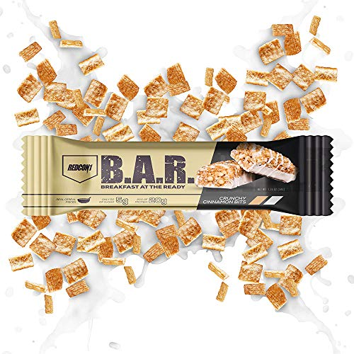 Redcon1  BAR Breakfast at The Ready  Cereal Bars  12 Bars  20G Protein Low Sugar On The Go Crunchy Cinnamon Bits
