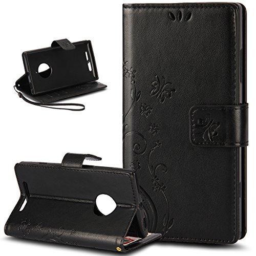 Kompatibel mit Nokia Lumia 830 Hülle,ikasus Malerei Schmetterling Muster PU Lederhülle Flip Hülle Cover Schale Stand Ständer Etui Karten Slot Wallet Tasche Case Schutzhülle für Nokia Lumia 830,Schwarz