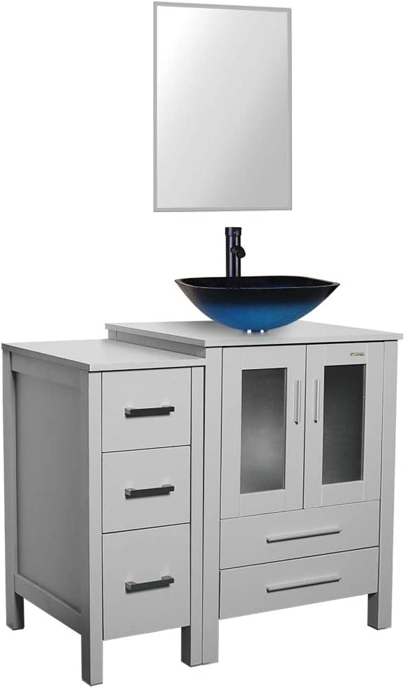 Buy 36grey Bathroom Vanity And Square Sink Combo 0 5 Tempered Glass Vessel Sink Square Blue Orb Faucet Drain Parts Bathroom Vanity Top Square Glass Sink Vessel Bowl Mounting Ring Removable Side Vanity Online In Turkey B087jlfr26
