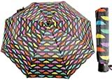 Paraguas clásico a prueba de viento plegable compacto de viaje con estampado de arco iris Super Mini paraguas, Rebanada de arcoíris, S