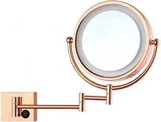 Wall Mount Flexible Makeup Mirror, Extendable Vanity Mirror LED Makeup Double-Sided 1X+3X Magnify Mirror Could Be Rotated 360° Bathroom Vanity Mirror-8.5Inch