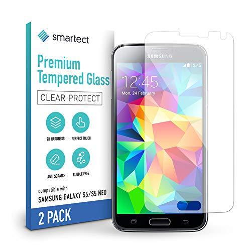 smartect Panzerglas kompatibel mit Samsung Galaxy S5 / S5 NEO [2 Stück] - Tempered Glass mit 9H Härte - Blasenfreie Schutzfolie - Anti Fingerprint Panzerglasfolie