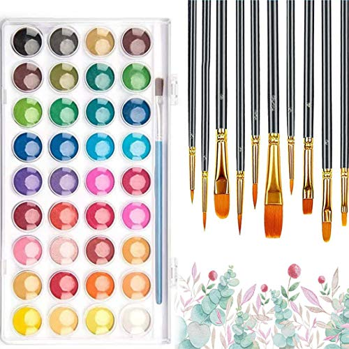 36 Colors Watercolor Paint, GingD Professional Watercolor Paint Set with 11 Paint Brushes & 3 Crayons, The Best Gift for Beginners, Children and Art Lovers