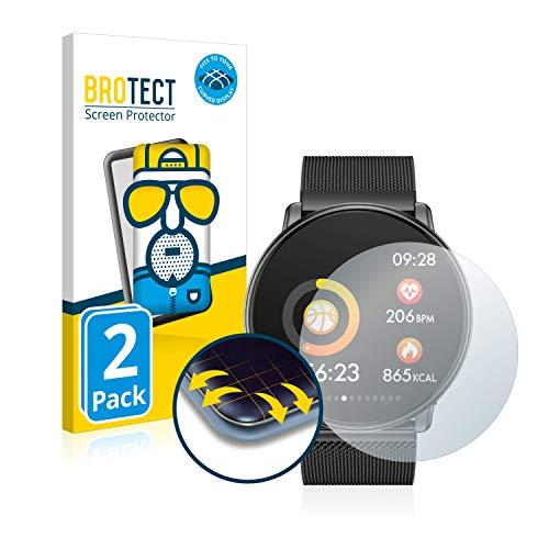 BROTECT Full-Cover Schutzfolie Matt kompatibel mit Azorex Smartwatch Q88 (2 Stück) - Full-Screen Displayschutz-Folie, 3D Curved, Anti-Reflex
