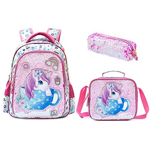 Mochila para niños, mochila de día con bolsa para el almuerzo, estuche 3 en 1, ligera, gran capacidad, con lentejuelas, juego de mochila escolar para niños y estudiantes (rosa)