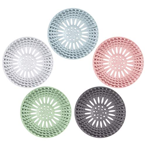 ISIYINER Cubiertas de Desagüe Silicona Tapón de Pelo para Cocina Baño Bañera 5 Piezas