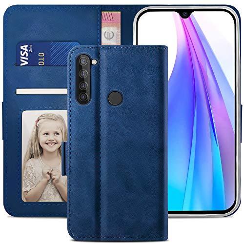 YATWIN Handyhülle Redmi Note 8T Hülle, Klapphülle Xiaomi Redmi Note 8T Premium Leder Brieftasche Schutzhülle [Kartenfach] [Magnet] [Stand] Handytasche Case für Redmi Note 8T, Blau