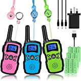 Wishouse Kids Walkie Talkies Long Distance Rechargeable 3 Pack with Usb Charger Battery