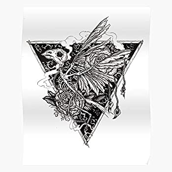Fsghilomena Punk Death Traditional Tattoo Bird Crow Goth Pen Impressive Posters for Room Decoration Printed with The Latest Modern Technology on semi-Glossy Paper Background