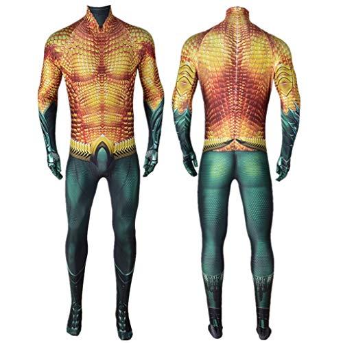 KIDsportxie Unisex Aquaman Arthur Curry Muskel-Kostüm, Junge Männer Halloween-Overall Weihnachten Anime-Abendkleid Masquerade Spandex Zentai,Kids (95~115cm)