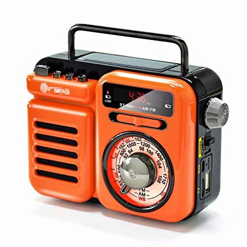 YZX Radio de Emergencia para el hogar al Aire Libre, manivela portátil multifunción transmisión meteorológica Am/FM/WB, con Banco de energía de 2000 mAh y Linterna(Naranja,12.8×5.7×9.8 cm)