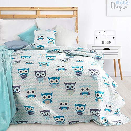 Schöne Tagesdecke, Bunte Decke, für Kinder, Muster Eule, Größe: 170X210 cm, Für: Mädchen und Jungen, zur Wahl, Farbe, Rosa, Blau. (Blau)
