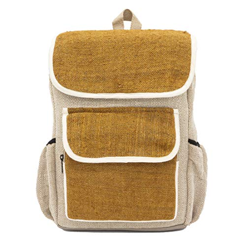 "Rucksack Damen Herren Stoffrucksack Daypack Schulrucksack Laptoprucksack beige Mustard senfgelb Hanf Baumwolle Jute vegan Fairtrade eco-Friendly | seasara ""Made by Sumitra"" 