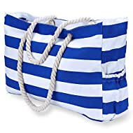 KUAK Beach Bag, Extra Large Canvas Beach Tote with 100% Waterproof Phone Case, Top Zipper, Cotton Rope Handles, Two Elastic Outside Pockets, Key Holder, Bottle Opener, Oversized Beach Bags and Totes