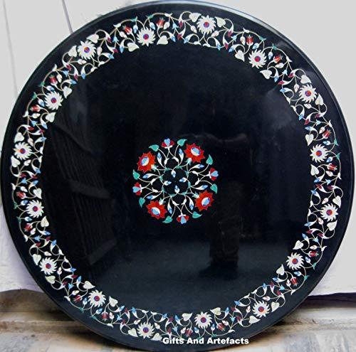 Gifts And Artefacts Table de conférence Ronde en marbre avec Pierres Semi-précieuses incrustées Art Floral Royal Bureau Table de réunion 76,2 cm